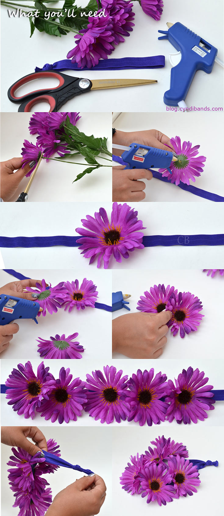 Make your own flower headbands step by step tutorial for Flower making at home