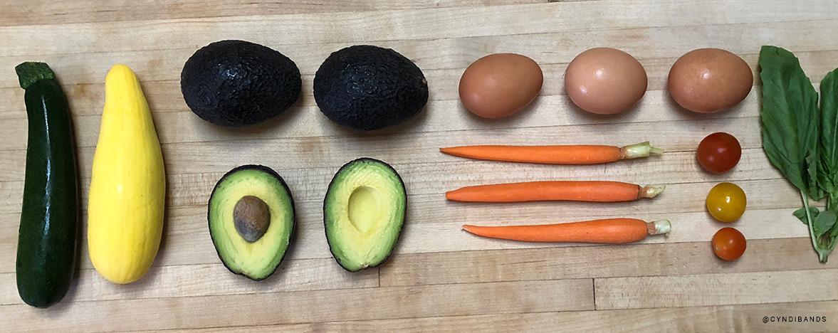 Avocado Eggs Carrots Tomatoes Healthy Food